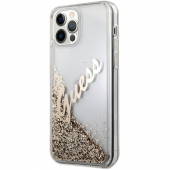 Husa Plastic - TPU Guess Liquid Glitter Vintage Script pentru Apple iPhone 12 / Apple iPhone 12 Pro, Aurie GUHCP12MGLVSGO