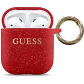 Husa Protectie Casti Guess Silicone pentru Apple AirPods Gen 1 / Apple AirPods Gen 2, Rosie GUACCSILGLRE