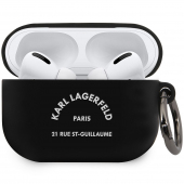 Husa Protectie Casti Karl Lagerfeld Rue St Guillaume pentru Apple AirPods Pro, Neagra KLACAPSILRSGBK