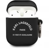Husa Protectie Casti Karl Lagerfeld Rue St Guillaume pentru Apple AirPods Gen 1 / Apple AirPods Gen 2, Neagra KLACA2SILRSGBK