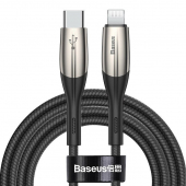 Cablu Date si Incarcare USB Type-C la Lightning Baseus Horizontal, 2 m, 18W, Negru CATLSP-B01