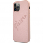 Husa Piele Guess Saffiano Vintage Script pentru Apple iPhone 12 Pro Max, Roz Aurie GUHCP12LRSAVSRG