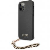 Husa Piele Guess Saffiano Gold Chain pentru Apple iPhone 12 / Apple iPhone 12 Pro, Neagra GUHCP12MSASGBK