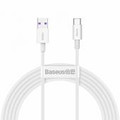 Cablu Date si Incarcare USB la USB Type-C Baseus Superior Series, 2 m, 66W, Alb CATYS-A02