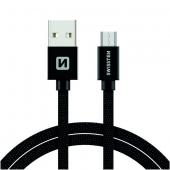 Cablu Date si Incarcare USB la MicroUSB Swissten Textile, 1.2 m, Negru