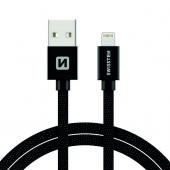 Cablu Date si Incarcare USB la Lightning Swissten Textile, 2 m, Negru