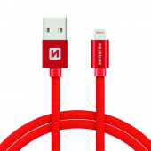 Cablu Date si Incarcare USB la Lightning Swissten Textile, 2 m, Rosu
