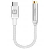 Adaptor Audio USB Type-C la 3.5 mm Swissten Textile, 0.15 m, Argintiu