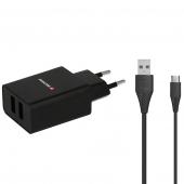 Incarcator Retea cu cablu USB Tip-C Swissten Smart IC, 1A, 1 X USB, Negru