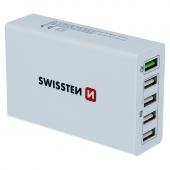 Incarcator Retea Statie USB Swissten Smart IC, Quick Charge, 50W, 5 X USB, Alb