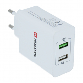 Incarcator Retea USB Swissten Travel Smart IC, Quick Charge, 30W, 2 X USB, Alb