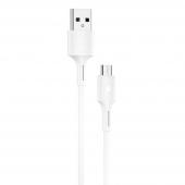 Cablu Date si Incarcare USB la MicroUSB WK-Design YouPin, 1 m, 3A, Alb WDC-136m