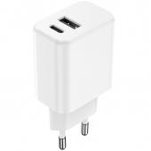 Incarcator Retea USB Setty, Quick Charge, 20W, 1 X USB - 1 X USB Tip-C, Alb