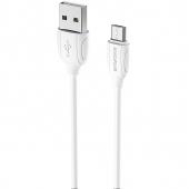 Cablu Date si Incarcare USB la MicroUSB Borofone Benefit BX19, 1 m, Alb