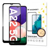 Folie Protectie Ecran WZK pentru Samsung Galaxy A22 5G, Sticla securizata, Full Face, Full Glue, Neagra