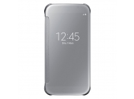 Husa plastic Samsung Galaxy S6 G920 Clear View EF-ZG920BS argintie Blister Originala