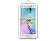 Folie Protectie ecran antisoc Samsung Galaxy S6 edge G925 Tempered Glass Full Face alba glitter Blister
