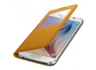 Husa textil Samsung Galaxy S6 G920 S-View EF-CG920BY galbena Blister Originala