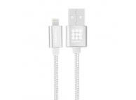 Cablu de date Apple iPhone 5 Haweel Woven HWL1025S 1m Argintiu Blister Original