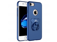 Husa plastic Apple iPhone 7 AIQAA Bear Ring Bleumarin