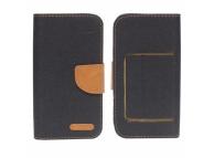 Husa textil Canvas pentru telefon 5 inci, dimensiuni interioare 145 x 75 mm, neagra-maro