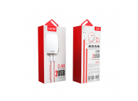 Incarcator Retea Dual USB MicroUSB Ldnio LED A2204 2.4A Alb Blister Original