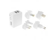 Incarcator retea MicroUSB - Lightning cu adaptori EU-UK-USA-AUS Haweel Travel 2 x USB Alb Blister Original