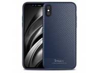 Husa silicon TPU Apple iPhone X iPaky Carbon Fiber Bleumarin Blister Originala