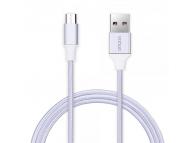 Cablu de date USB - MicroUSB Vonuo Nylon 1m argintiu Original