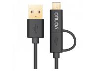 Cablu de date USB - MicroUSB USB Type-C Vonuo 2in1 1.27 m Blister Original
