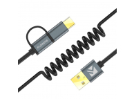 Cablu de date si incarcare USB la MicroUSB - USB la USB Type-C cu fir retractabil Floveme Blister Original