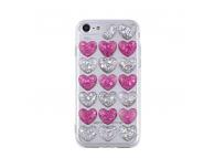 Husa silicon TPU Apple iPhone 7 Plus 3D Glitter Hearts roz argintie