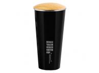 Cana aluminu cafea Remax RT-CUP40 cu capac de lemn 400ml Neagra Blister