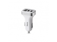 Adaptor auto Dual USB HOCO Z3 3.1A cu afisaj Alb Blister Original