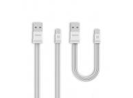 Set Cablu de date MicroUSB Remax RC-062m Tengy, 2.1A, 1m / 16cm, Alb, Blister