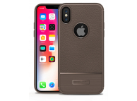 Husa silicon TPU Apple iPhone X Litchi Rugged Maro