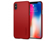 Husa Plastic Spigen pentru Apple iPhone X, Thin Fit, 057CS22109, Rosie, Blister