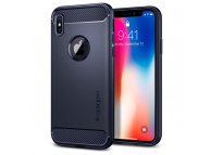 Husa Silicon TPU Spigen pentru Apple iPhone X, Rugged Armor, 057CS22126, Bleumarin, Blister