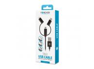 Cablu Date si Incarcare USB la Lightning - USB la MicroUSB - USB la USB Type-C Forever nylon, 1 m, Negru, Blister