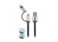 Cablu Date si Incarcare USB la Lightning - USB la MicroUSB Forever Metal Head, 1 m, Negru, Blister