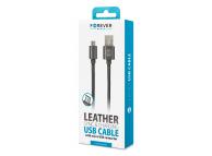 Cablu Date si Incarcare USB la MicroUSB Forever Leather 2A, 1 m, Negru, Blister