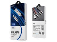 Cablu Date si Incarcare USB la Lightning Totu Design, 1.2 m, Rosu, Blister