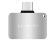 Adaptor Audio USB Type-C la 3.5 mm Yaomasi cu port incarcare USB Type-C, Argintiu, Blister