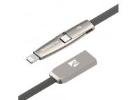 Cablu Date si Incarcare USB la Lightning - USB la MicroUSB Floveme, 1 m, Gri, Blister