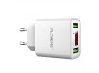 Incarcator Retea USB Floveme YXF101206 cu Afisaj, 2 X USB, Alb, Blister