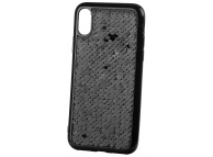 Husa TPU OEM Magic Sequins pentru Apple iPhone X, Neagra, Bulk