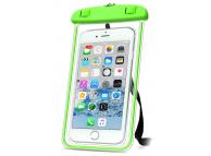 Husa Plastic OEM Universala Waterproof 5.7 inci pentru Telefon, Transparenta - Verde, Bulk