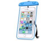 Husa Plastic OEM Universala Waterproof 5.7 inci pentru Telefon, Albastra - Transparenta, Bulk