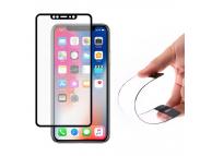 Folie Protectie Ecran WZK pentru Apple iPhone X, Sticla Flexibila, Full Face, Neagra, Blister