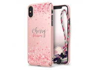 Husa Plastic Ringke Cherry Blossom + snur pentru Apple iPhone X, Roz, Blister